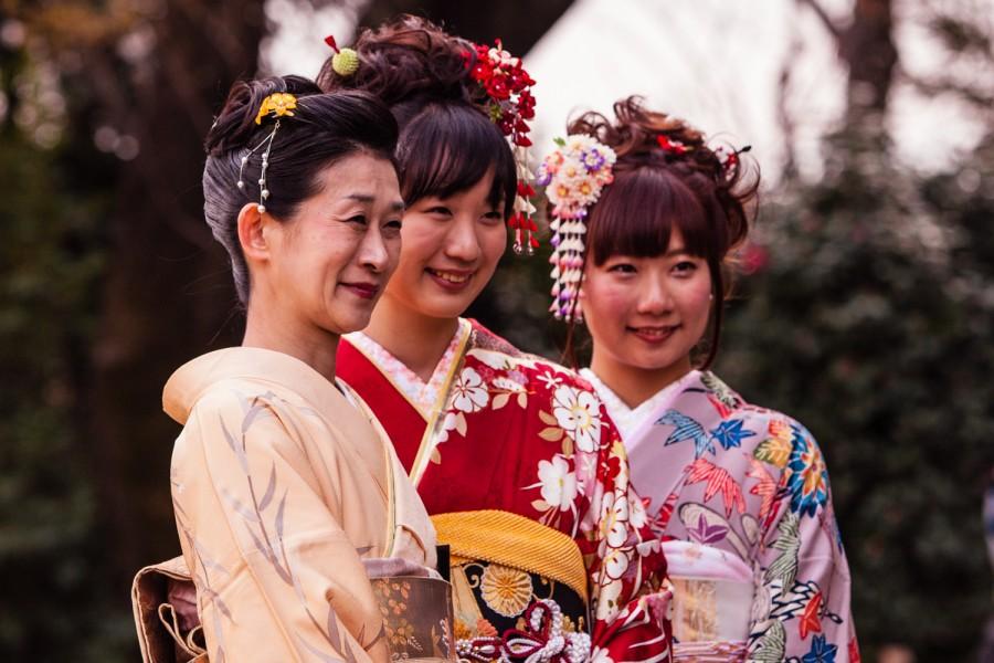 Kimonos entre cerezos